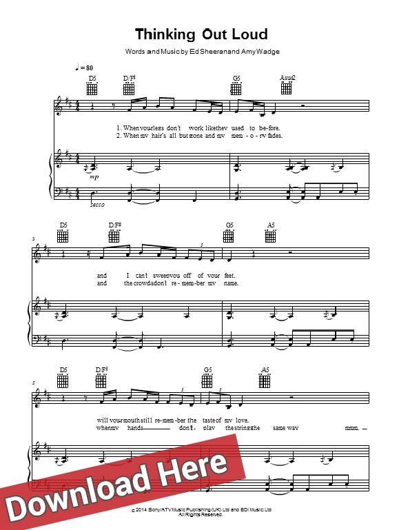ed sheeran, thinking out loud, sheet music, piano notes, score, chords