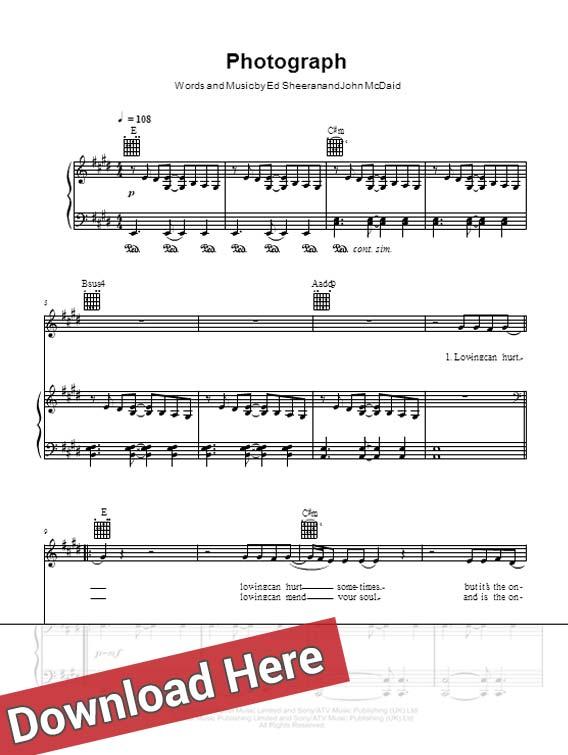 Guitar guitar tabs photograph : Ed Sheeran Photograph Piano Notes & Sheet Music – Music Notes Piano