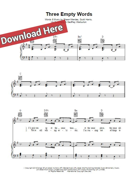 Shawn Mendes Three Empty Words Sheet Music, Piano Notes, Chords ...