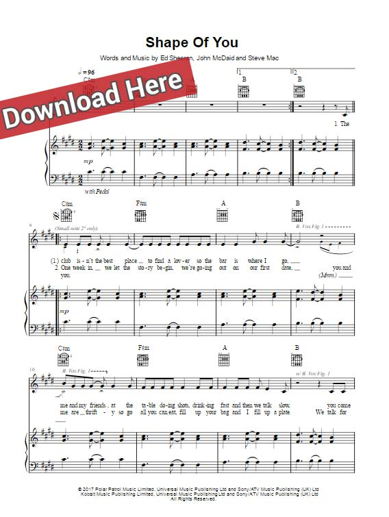 ed sheeran, shape of you, sheet music, piano notes, chords, download, keyboard, guitar, tutorial, lesson, voice, vocals